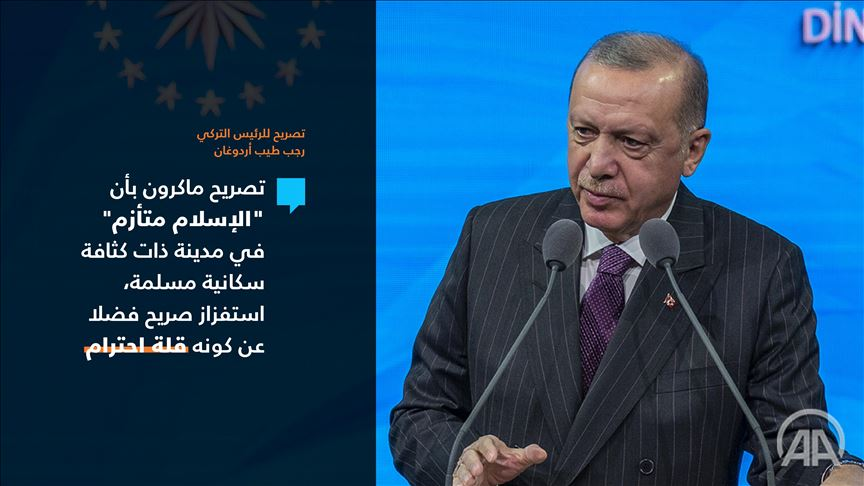 أردوغان: تصريح ماكرون عن الإسلام  .. استفزاز ويفتقد الاحترام