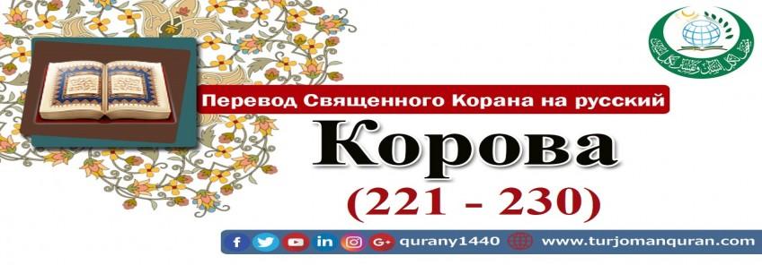 Перевод Священного Корана на русский -   2 – КОРОВА - (221 - 230)