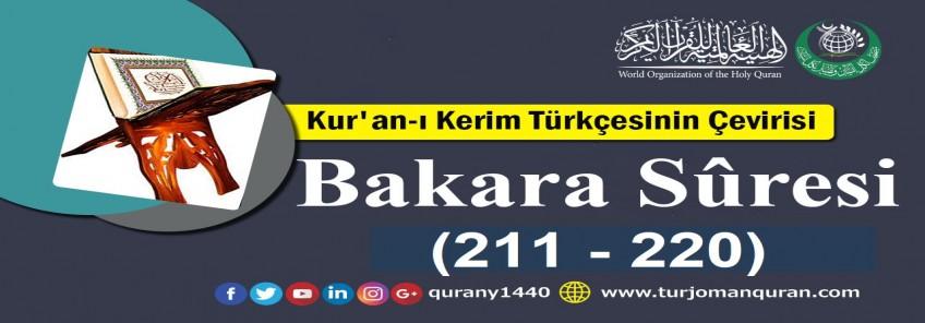 Kur'an-ı Kerim Türkçesinin Çevirisi -  Bakara Sûresi ( 211- 220)