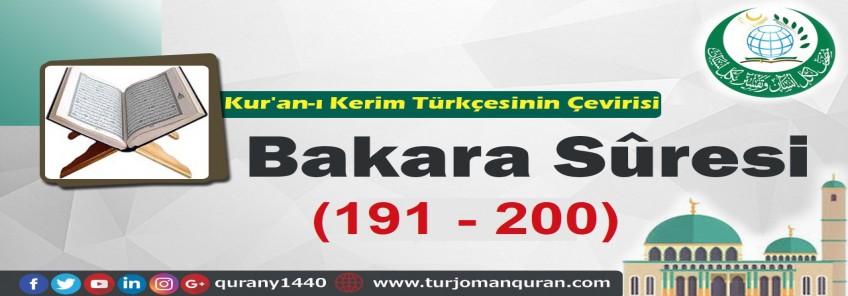 Kur'an-ı Kerim Türkçesinin Çevirisi -  Bakara Sûresi (191 -200 )
