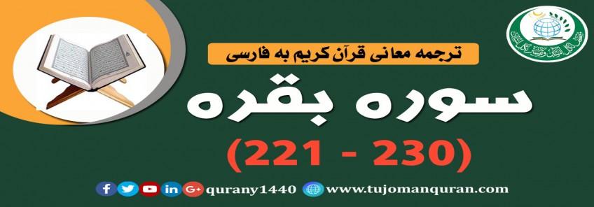 ترجمه معانی قرآن كريم به فارسی -  سوره بقره (221 - 230)